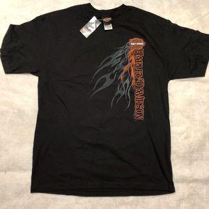Harley Davidson Black T shirt sz L Red Rock Las V